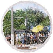 Bos Fish Wagon Round Beach Towel by Bob George
