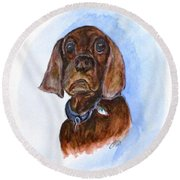 Bosely The Dog Round Beach Towel