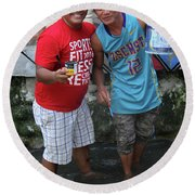 Round Beach Towel featuring the photograph Bosen Bros by Jez C Self