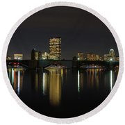 Boston Skyscrappers Behind Bridge Round Beach Towel
