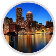 Boston Aglow Round Beach Towel by Rick Berk