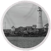 Boston And Graves Lighthouses In Monochrome Round Beach Towel