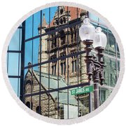 Boston At Different Angle Round Beach Towel