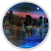 Boston At Night Round Beach Towel
