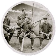 Boston Baseball Players   Gowdy, Tyler, Connolly Round Beach Towel by American School