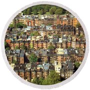 Boston Brownstone Architecture Round Beach Towel