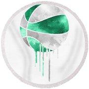 Boston Celtics Dripping Water Colors Pixel Art Round Beach Towel