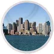 Boston City Skyline Round Beach Towel