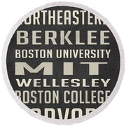 Boston Colleges Poster Round Beach Towel