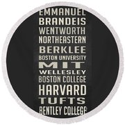 Boston Colleges Poster Round Beach Towel by Edward Fielding