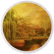 Boston Common In Autumn Round Beach Towel by Liz Leyden