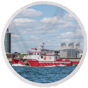 Boston Fire Rescue Boat Passing Logan Airport Round Beach Towel