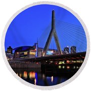 Boston Garden And Zakim Bridge Round Beach Towel