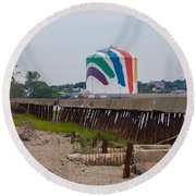 Boston Gas Tank From Squantom  Round Beach Towel by Brian MacLean