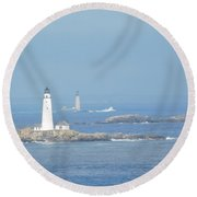 Boston Harbor Lighthouses Round Beach Towel