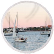 Boston Harbor View Round Beach Towel