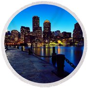 Boston Harbor Walk Round Beach Towel by Rick Berk