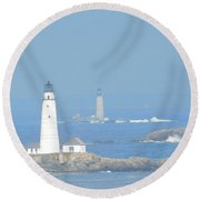 Boston Harbors Lighthouses Round Beach Towel