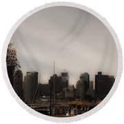 Boston In A Soft Light Round Beach Towel by Lisa Brandel