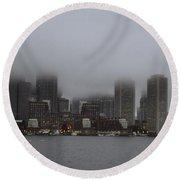 Boston In The Fog Round Beach Towel
