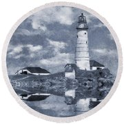 Round Beach Towel featuring the photograph Boston Light  by Ian Mitchell