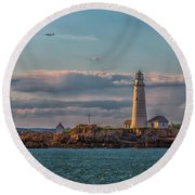 Boston Lighthouse Sunset Round Beach Towel by Brian MacLean