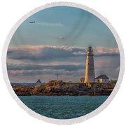 Boston Lighthouse Sunset Round Beach Towel