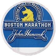Round Beach Towel featuring the photograph Boston Marathon - Boston Athletic Association by Joann Vitali