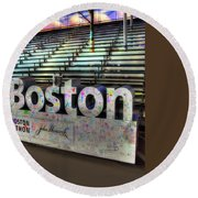 Round Beach Towel featuring the photograph Boston Marathon Sign by Joann Vitali