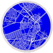 Boston Massachusetts City Map Streets Art Print   Round Beach Towel by Keith Webber Jr