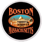 Boston Massachusetts Design Round Beach Towel