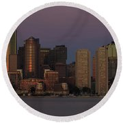 Boston Moonset And Sunrise Round Beach Towel