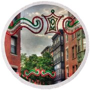Round Beach Towel featuring the photograph Boston North End Saint Anthony's Feast by Joann Vitali