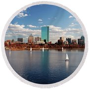 Boston On The Charles  Round Beach Towel