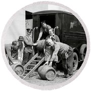 Boston Police Paddy Wagon Prohibition Raid C. 1929 Round Beach Towel
