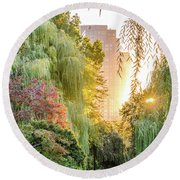 Boston Public Garden Sunrise Round Beach Towel by Mike Ste Marie