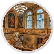 Round Beach Towel featuring the photograph Boston Public Library Architecture by Joann Vitali
