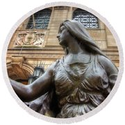 Round Beach Towel featuring the photograph Boston Public Library Lady Sculpture by Joann Vitali