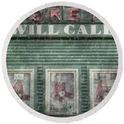 Round Beach Towel featuring the photograph Boston Red Sox Fenway Park Ticket Booth In Winter by Joann Vitali