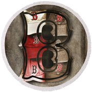 Round Beach Towel featuring the photograph Boston Red Sox  - Letter B by Joann Vitali