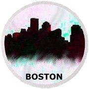 Boston Skyline  1 Round Beach Towel