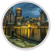 Boston Skyline At Night - Cty828916 Round Beach Towel