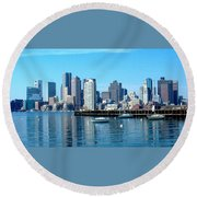 Boston Skyline C Round Beach Towel