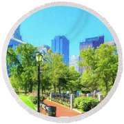 Boston Skyline From Columbus Park Round Beach Towel