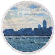 Boston Skyline From Deer Island Round Beach Towel