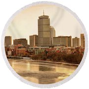 Boston Skyline On A December Morning Round Beach Towel