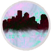 Boston Skyline Sky Blue  Round Beach Towel by Enki Art