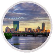 Boston Skyline Sunset Over Back Bay Round Beach Towel