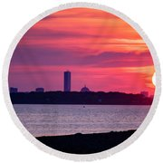 Boston Skyline Worlds End Round Beach Towel