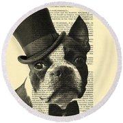 Boston Terrier, Animals In Clothes, Portrait Round Beach Towel
